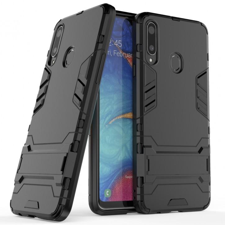 COOVY® Cover für Samsung Galaxy A20s SM-A207F/DS  Bumper Case, Doppelschicht aus Plastik + TPU-Silikon, extra stark, Anti-Shock Hülle, Standfunktion |
