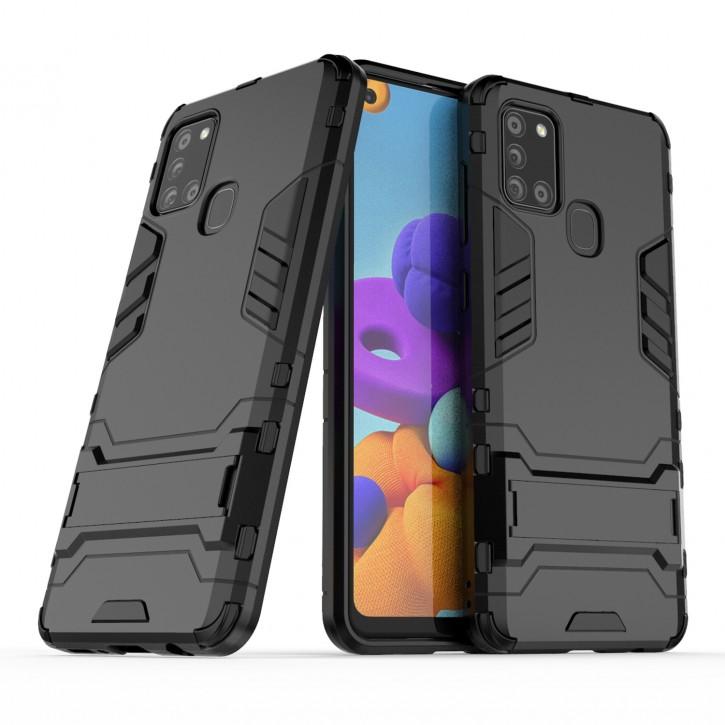 COOVY® Cover für Samsung Galaxy A21s SM-A217F/DS Bumper Case, Doppelschicht aus Plastik + TPU-Silikon, extra stark, Anti-Shock Hülle, Standfunktion |