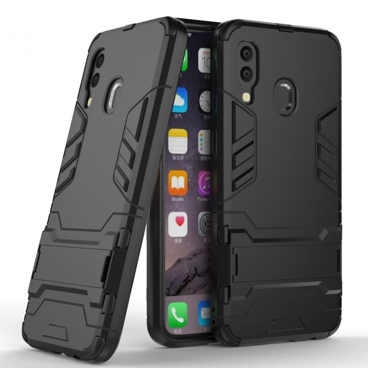 COOVY® Cover für Samsung Galaxy A40 SM-A405F/DS / SM-A405FN/DS Bumper Case, Doppelschicht aus Plastik + TPU-Silikon, extra stark, Anti-Shock Hülle, Standfunktion |