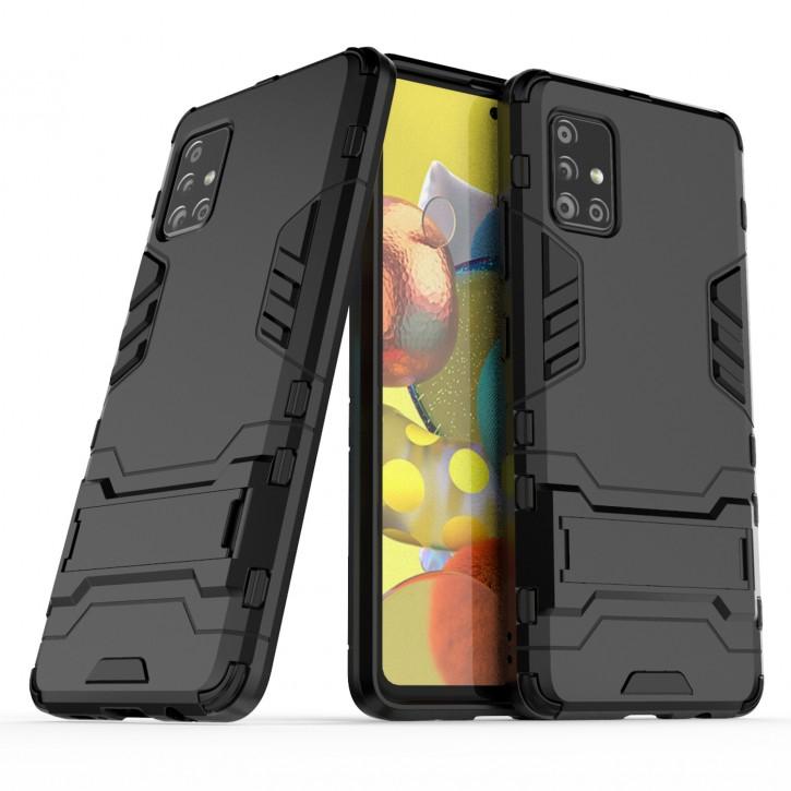 COOVY® Cover für Samsung Galaxy A51 5G SM-A516B/DS Bumper Case, Doppelschicht aus Plastik + TPU-Silikon, extra stark, Anti-Shock Hülle, Standfunktion  