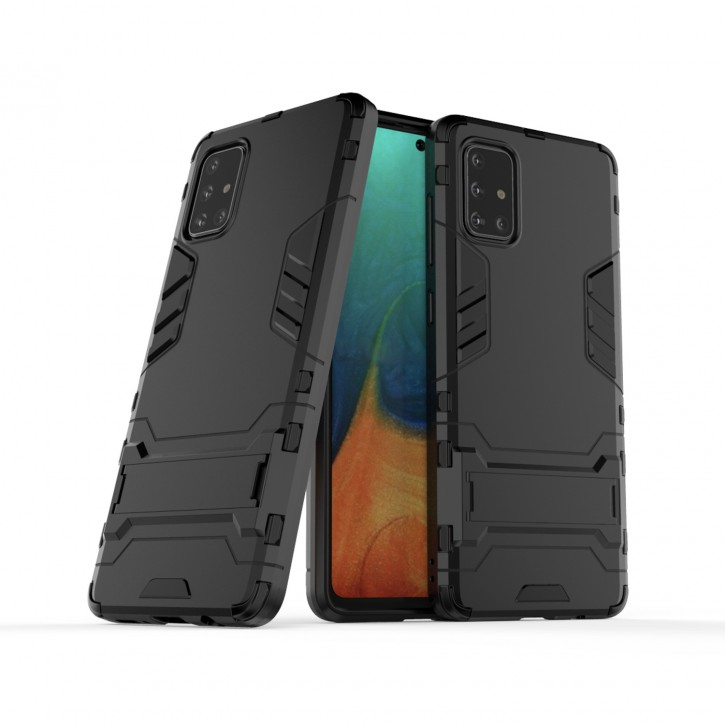 COOVY® Cover für Samsung Galaxy A71 SM-A715F/DS, SM-A715F/DSN Bumper Case, Doppelschicht aus Plastik + TPU-Silikon, extra stark, Anti-Shock Hülle, Standfunktion |
