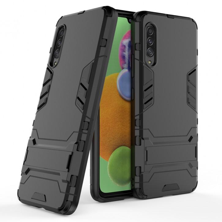 COOVY® Cover für Samsung Galaxy A90 5G SM-A908B Bumper Case, Doppelschicht aus Plastik + TPU-Silikon, extra stark, Anti-Shock Hülle, Standfunktion |