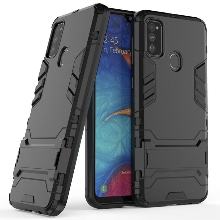 COOVY® Cover für Samsung Galaxy M30s / M21 SM-M307FN/DS Bumper Case, Doppelschicht aus Plastik + TPU-Silikon, extra stark, Anti-Shock Hülle, Standfunktion |