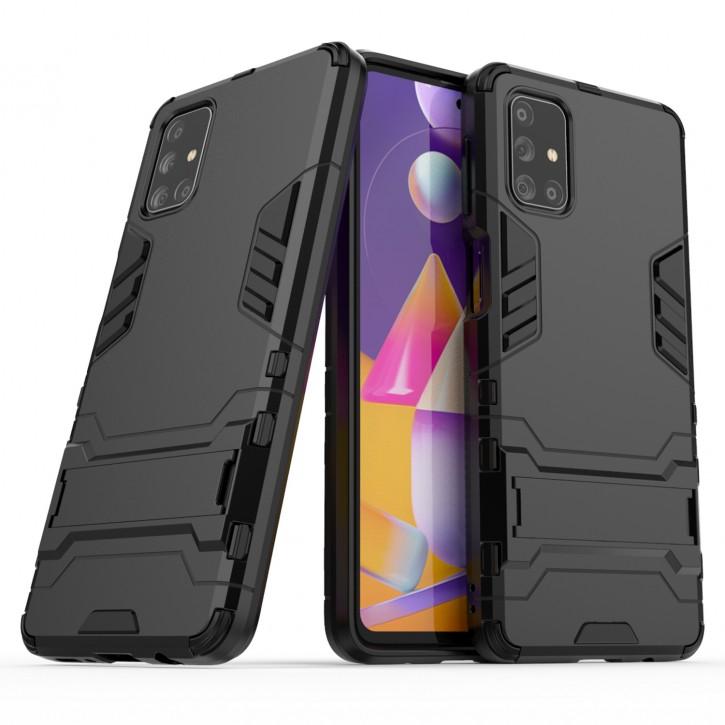COOVY® Cover für Samsung Galaxy M31s SM-M317F Bumper Case, Doppelschicht aus Plastik + TPU-Silikon, extra stark, Anti-Shock Hülle, Standfunktion |