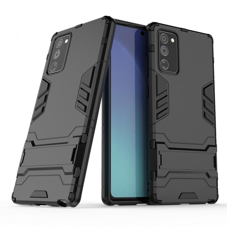 COOVY® Cover für Samsung Galaxy Note 20 SM-N980F/DS Bumper Case, Doppelschicht aus Plastik + TPU-Silikon, extra stark, Anti-Shock Hülle, Standfunktion |