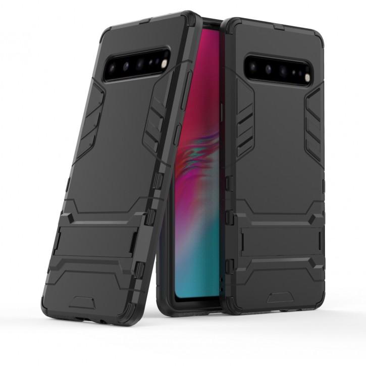 COOVY® Cover für Samsung Galaxy S10 5G SM-G977B Bumper Case, Doppelschicht aus Plastik + TPU-Silikon, extra stark, Anti-Shock Hülle, Standfunktion  