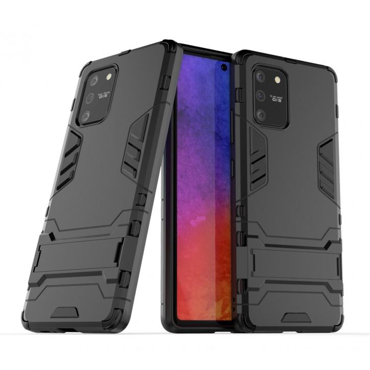 COOVY® Cover für Samsung Galaxy S10 Lite / SM-G770F/DS / A91 SM-A915F/DS Bumper Case, Doppelschicht aus Plastik + TPU-Silikon, extra stark, Anti-Shock Hülle, Standfunktion |