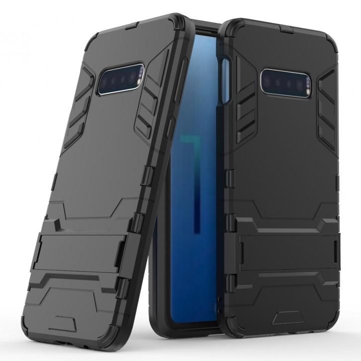 COOVY® Cover für Samsung Galaxy S10e SM-G970F Bumper Case, Doppelschicht aus Plastik + TPU-Silikon, extra stark, Anti-Shock Hülle, Standfunktion |