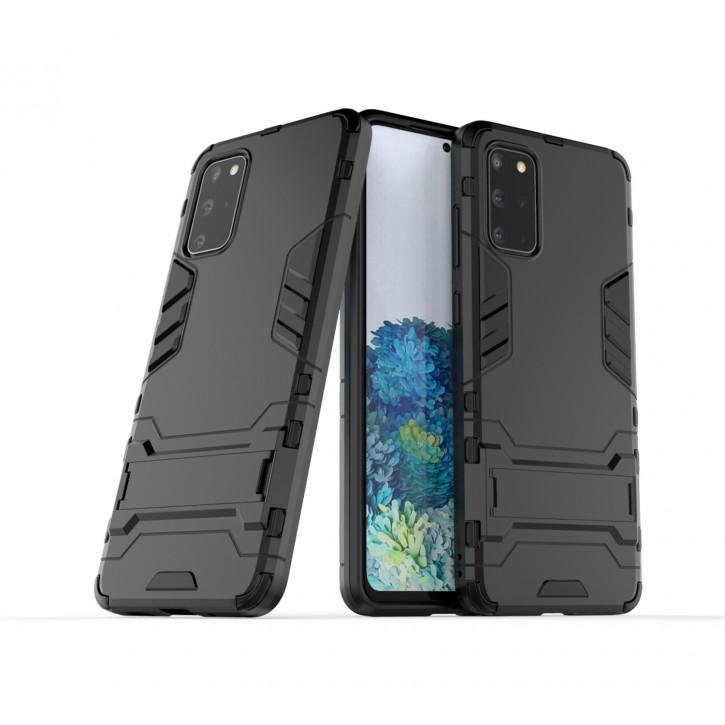COOVY® Cover für Samsung Galaxy S20 + Plus SM-G986BLBDEUB Bumper Case, Doppelschicht aus Plastik + TPU-Silikon, extra stark, Anti-Shock Hülle, Standfunktion |