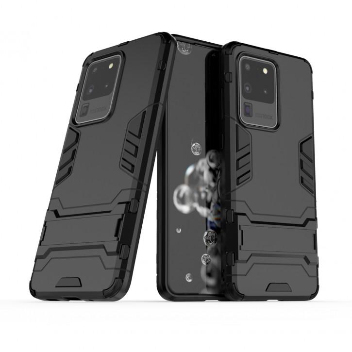 COOVY® Cover für Samsung Galaxy S20 Ultra SM-G988B/DS Bumper Case, Doppelschicht aus Plastik + TPU-Silikon, extra stark, Anti-Shock Hülle, Standfunktion |
