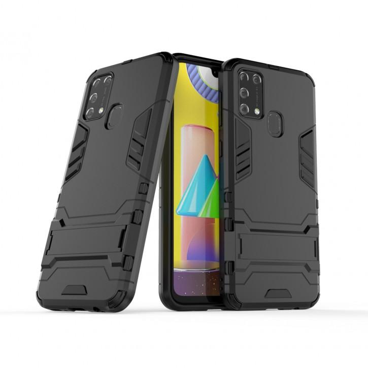 COOVY® Cover für Samsung Galaxy M31 SM-M315F/DS / SM-M315F/DSN Bumper Case, Doppelschicht aus Plastik + TPU-Silikon, extra stark, Anti-Shock Hülle, Standfunktion |