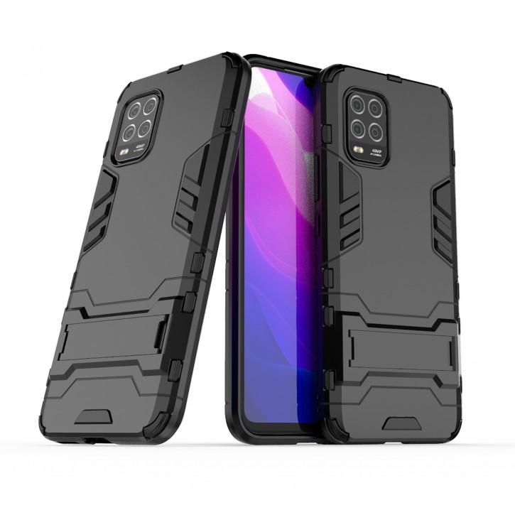 COOVY® Cover für Xiaomi Mi 10 Lite 5G Bumper Case, Doppelschicht aus Plastik + TPU-Silikon, extra stark, Anti-Shock Hülle, Standfunktion |
