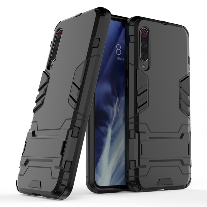 COOVY® Cover für Xiaomi Mi 9 Pro Bumper Case, Doppelschicht aus Plastik + TPU-Silikon, extra stark, Anti-Shock Hülle, Standfunktion |