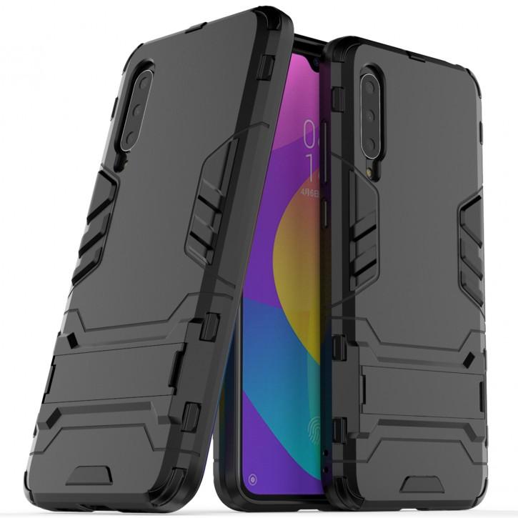 COOVY® Cover für Xiaomi Mi CC9 / 9 Lite Bumper Case, Doppelschicht aus Plastik + TPU-Silikon, extra stark, Anti-Shock Hülle, Standfunktion  