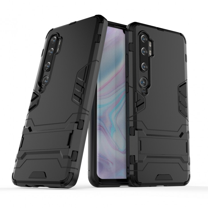 COOVY® Cover für Xiaomi Mi Note 10 / Note 10 Pro Bumper Case, Doppelschicht aus Plastik + TPU-Silikon, extra stark, Anti-Shock Hülle, Standfunktion |