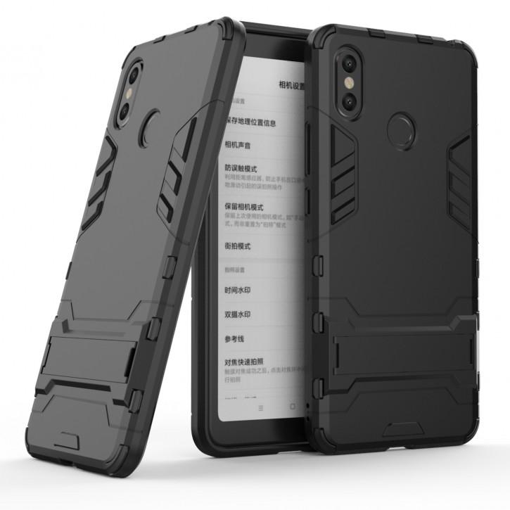 COOVY® Cover für Xiaomi Mi Max 3 Bumper Case, Doppelschicht aus Plastik + TPU-Silikon, extra stark, Anti-Shock Hülle, Standfunktion |