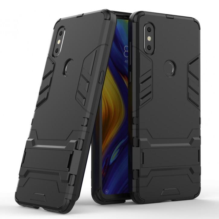COOVY® Cover für Xiaomi Mi Mix 3 Bumper Case, Doppelschicht aus Plastik + TPU-Silikon, extra stark, Anti-Shock Hülle, Standfunktion |