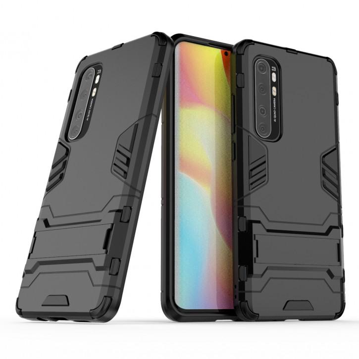 COOVY® Cover für Xiaomi Mi Note 10 Lite Bumper Case, Doppelschicht aus Plastik + TPU-Silikon, extra stark, Anti-Shock Hülle, Standfunktion |