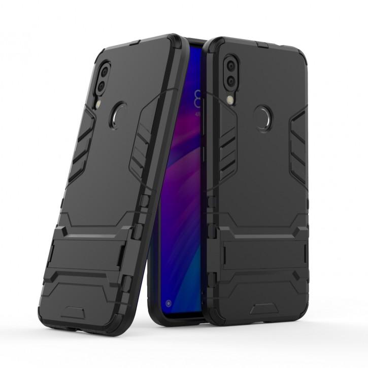 COOVY® Cover für Xiaomi Redmi 7 / Y3 Bumper Case, Doppelschicht aus Plastik + TPU-Silikon, extra stark, Anti-Shock Hülle, Standfunktion |