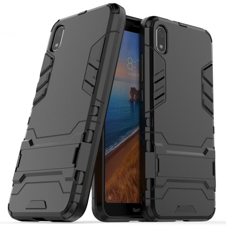 COOVY® Cover für Xiaomi Redmi 7a Bumper Case, Doppelschicht aus Plastik + TPU-Silikon, extra stark, Anti-Shock Hülle, Standfunktion |