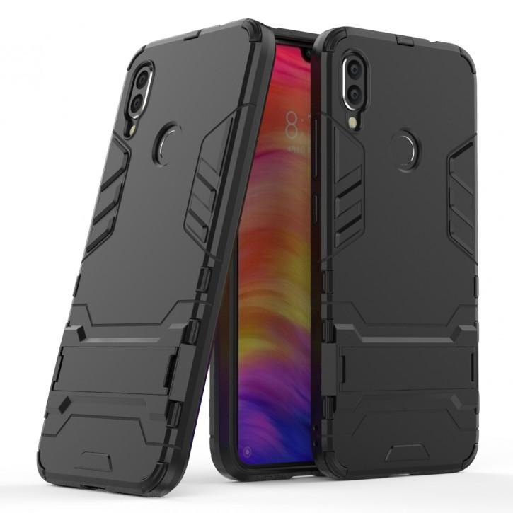 COOVY® Cover für Xiaomi Redmi Note 7 / Note 7 pro Bumper Case, Doppelschicht aus Plastik + TPU-Silikon, extra stark, Anti-Shock Hülle, Standfunktion |