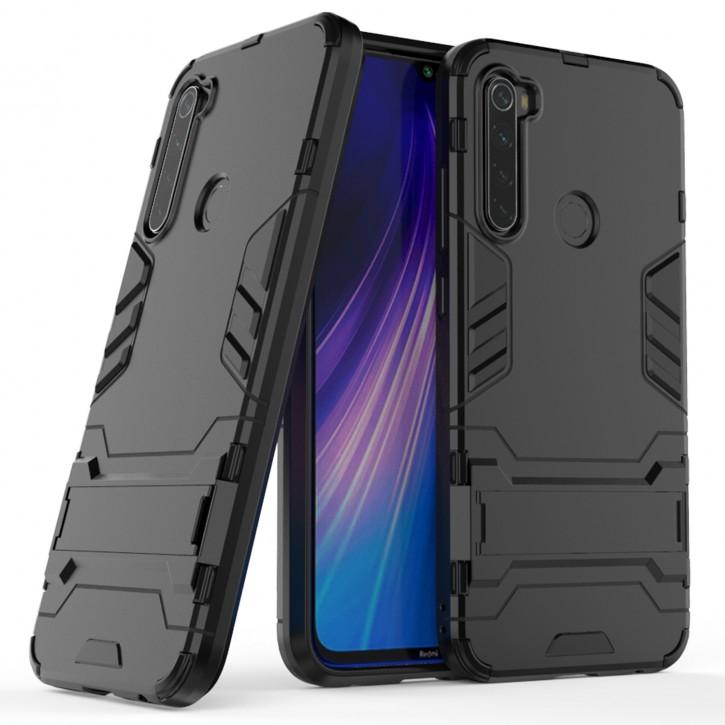 COOVY® Cover für Xiaomi Redmi Note 8 Bumper Case, Doppelschicht aus Plastik + TPU-Silikon, extra stark, Anti-Shock Hülle, Standfunktion |