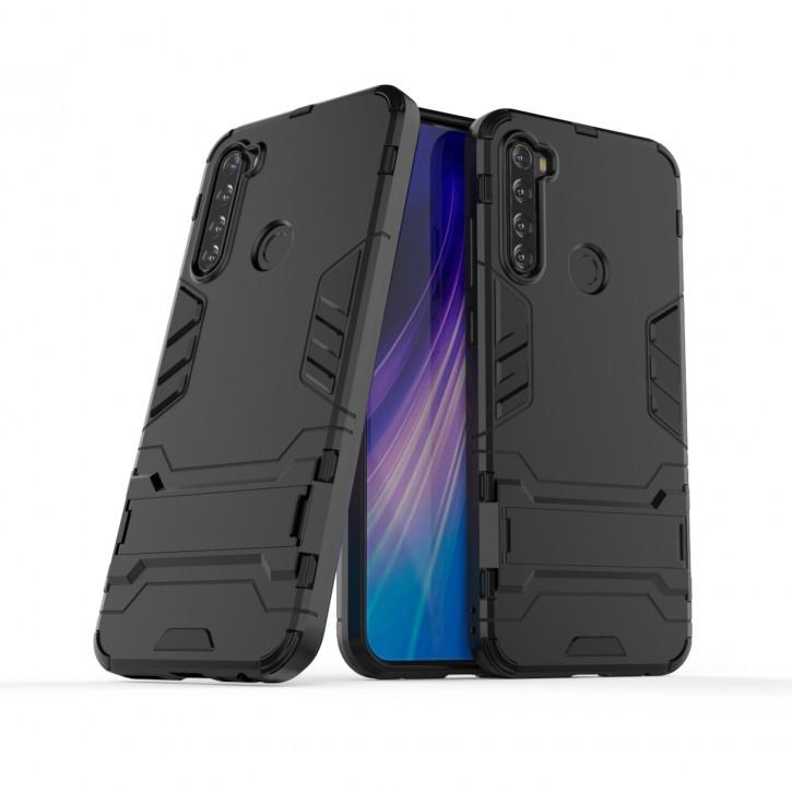 COOVY® Cover für Xiaomi Redmi Note 8T Bumper Case, Doppelschicht aus Plastik + TPU-Silikon, extra stark, Anti-Shock Hülle, Standfunktion |