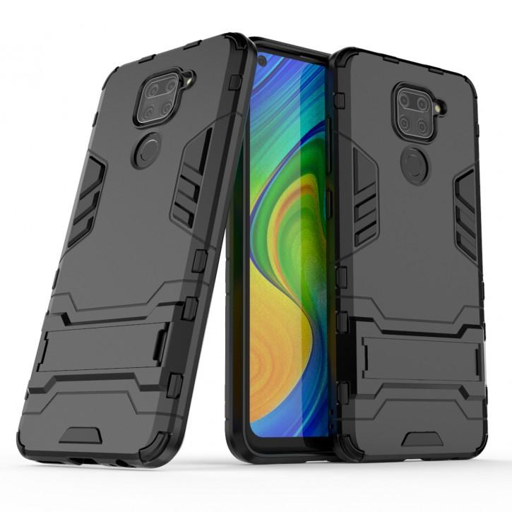 COOVY® Cover für Xiaomi Redmi Note 9 Bumper Case, Doppelschicht aus Plastik + TPU-Silikon, extra stark, Anti-Shock Hülle, Standfunktion |