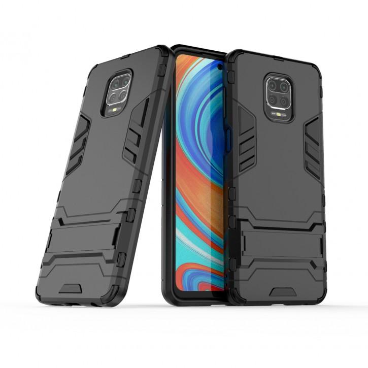 COOVY® Cover für Xiaomi Redmi Note 9S / Note 9 Pro / Note 9 Pro Max Bumper Case, Doppelschicht aus Plastik + TPU-Silikon, extra stark, Anti-Shock Hülle, Standfunktion |