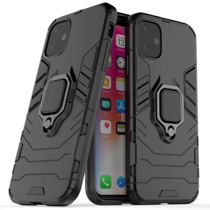 COOVY® Cover für Apple iPhone 11 Bumper Case, Plastik + TPU-Silikon, extra stark, Anti-Shock, Stand Funktion + Magnethalter kompatibel |