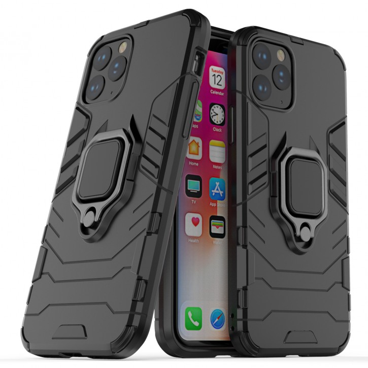 COOVY® Cover für Apple iPhone 11 pro Bumper Case, Plastik + TPU-Silikon, extra stark, Anti-Shock, Stand Funktion + Magnethalter kompatibel |
