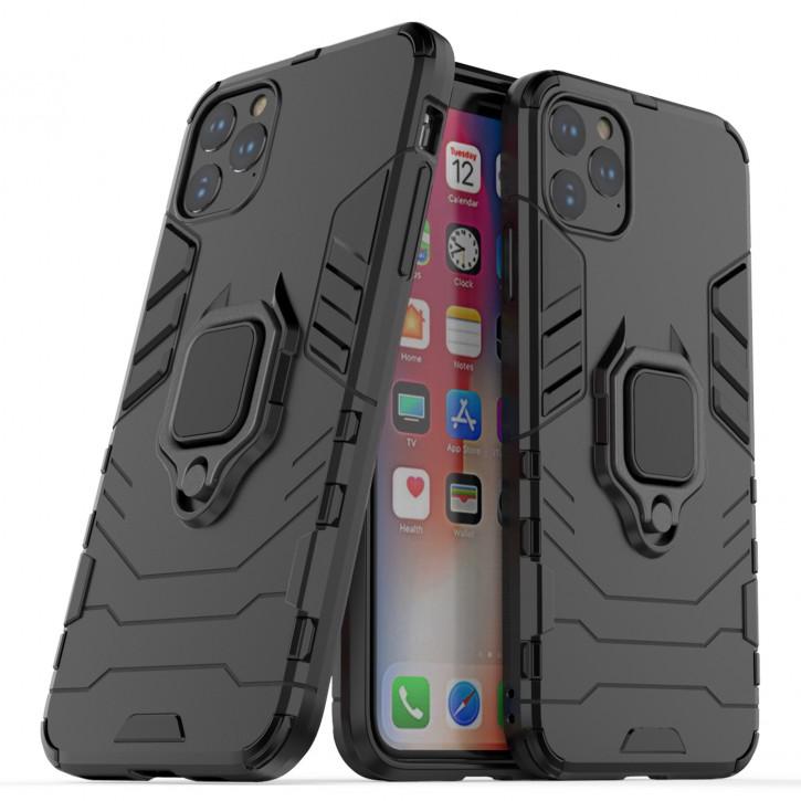 COOVY® Cover für Apple iPhone 11 pro Max Bumper Case, Plastik + TPU-Silikon, extra stark, Anti-Shock, Stand Funktion + Magnethalter kompatibel  