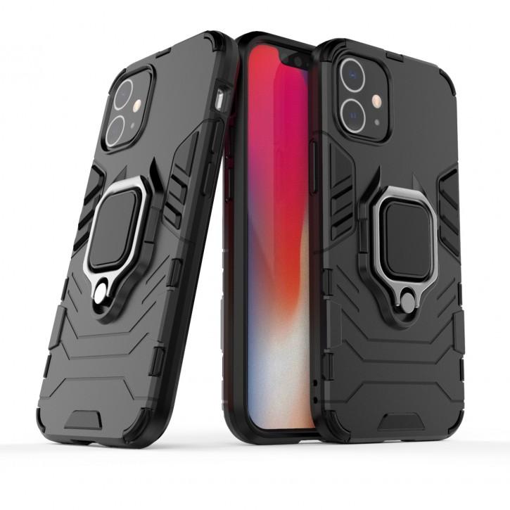COOVY® Cover für Apple iPhone 12 mini 5.4 Bumper Case, Plastik + TPU-Silikon, extra stark, Anti-Shock, Stand Funktion + Magnethalter kompatibel |