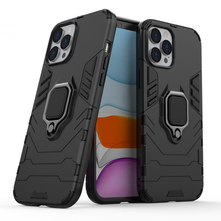 COOVY® Cover für Apple iPhone 12 pro Max 6.7 Bumper Case, Plastik + TPU-Silikon, extra stark, Anti-Shock, Stand Funktion + Magnethalter kompatibel |