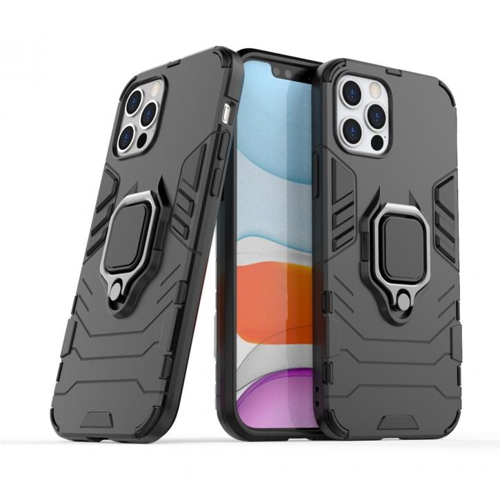 COOVY® Cover für Apple iPhone 12/12 pro 6.1 Bumper Case, Plastik + TPU-Silikon, extra stark, Anti-Shock, Stand Funktion + Magnethalter kompatibel |