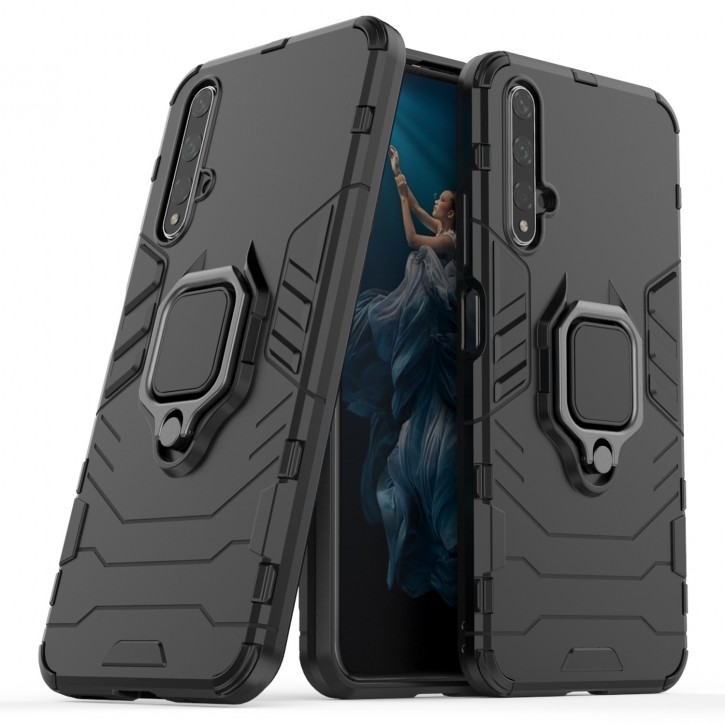 COOVY® Cover für Huawei Honor 20 / Nova 5T Bumper Case, Plastik + TPU-Silikon, extra stark, Anti-Shock, Stand Funktion + Magnethalter kompatibel |