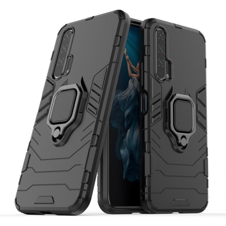 COOVY® Cover für Huawei Honor 20 pro Bumper Case, Plastik + TPU-Silikon, extra stark, Anti-Shock, Stand Funktion + Magnethalter kompatibel  