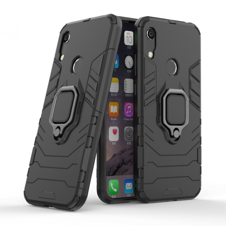 COOVY® Cover für Huawei Honor 8A 2020 / Y6 2019 / Y6s 2019 Bumper Case, Plastik + TPU-Silikon, extra stark, Anti-Shock, Stand Funktion + Magnethalter kompatibel |