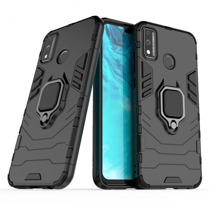 COOVY® Cover für Huawei Honor 9x Lite Bumper Case, Plastik + TPU-Silikon, extra stark, Anti-Shock, Stand Funktion + Magnethalter kompatibel |
