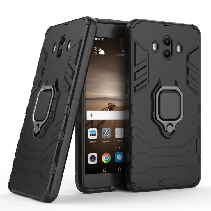 COOVY® Cover für Huawei Mate 10 Bumper Case, Plastik + TPU-Silikon, extra stark, Anti-Shock, Stand Funktion + Magnethalter kompatibel |