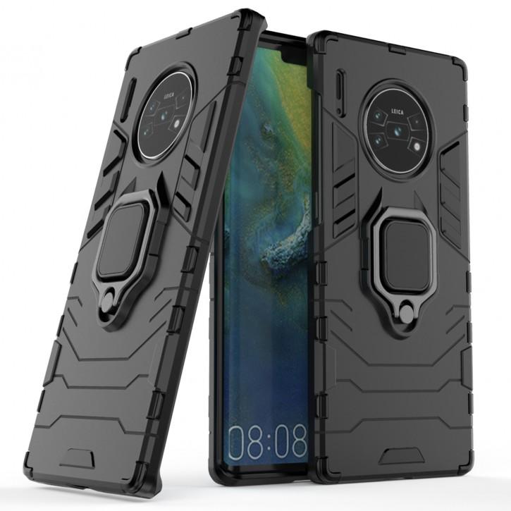 COOVY® Cover für Huawei Mate 30 pro / 5G Bumper Case, Plastik + TPU-Silikon, extra stark, Anti-Shock, Stand Funktion + Magnethalter kompatibel |