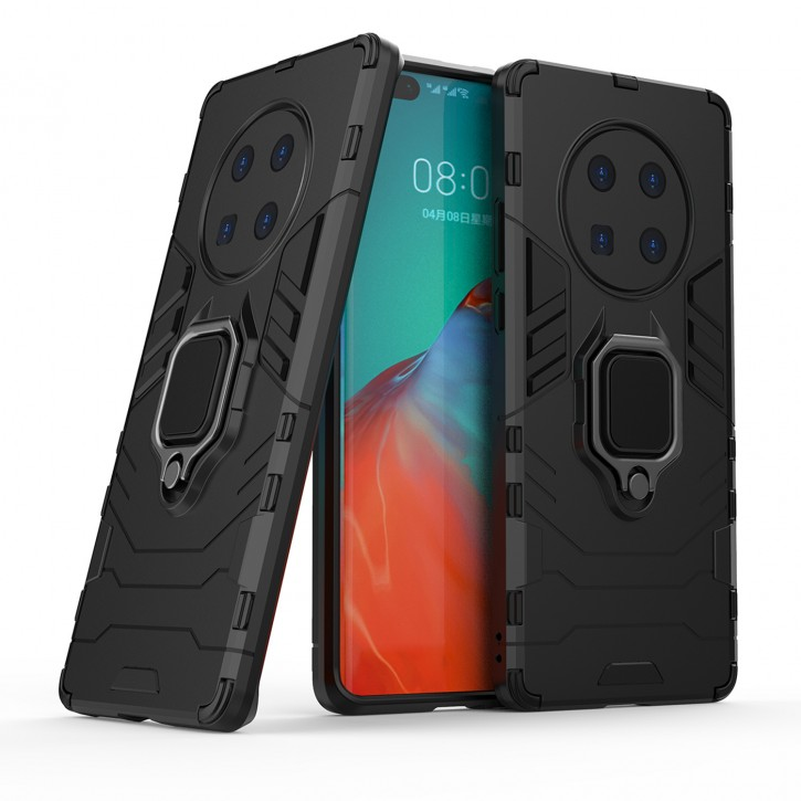 COOVY® Cover für Huawei Mate 40 Pro Bumper Case, Plastik + TPU-Silikon, extra stark, Anti-Shock, Stand Funktion + Magnethalter kompatibel |
