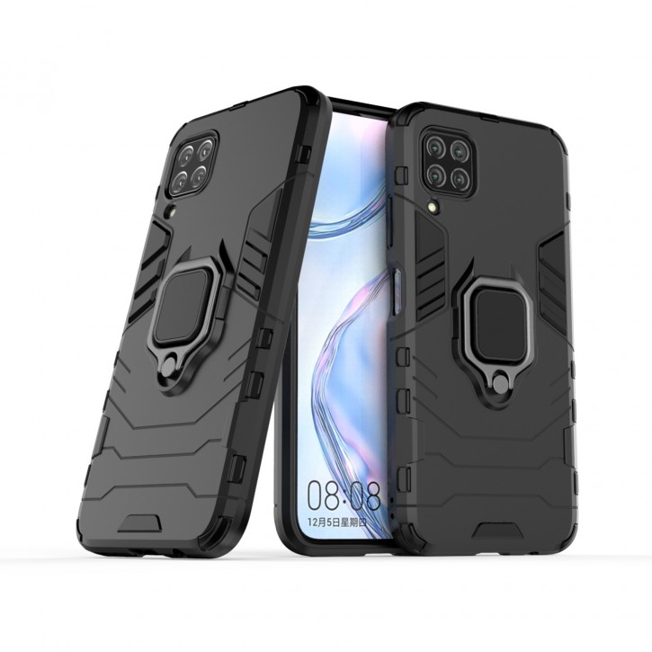 COOVY® Cover für Huawei P40 Lite / nova 6 SE / nova 7i Bumper Case, Plastik + TPU-Silikon, extra stark, Anti-Shock, Stand Funktion + Magnethalter kompatibel |