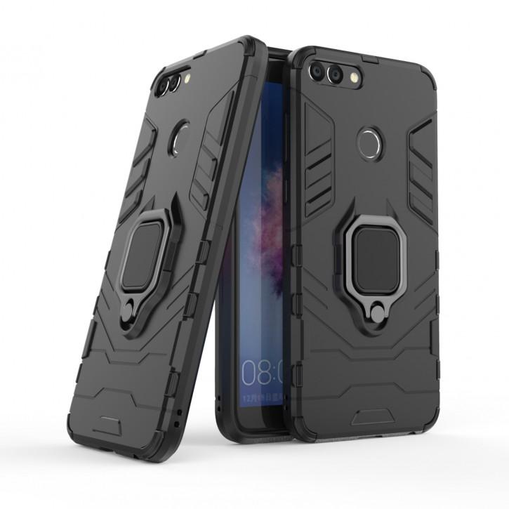 COOVY® Cover für Huawei P smart (Model 2017) / Enjoy 7S Bumper Case, Plastik + TPU-Silikon, extra stark, Anti-Shock, Stand Funktion + Magnethalter kompatibel |