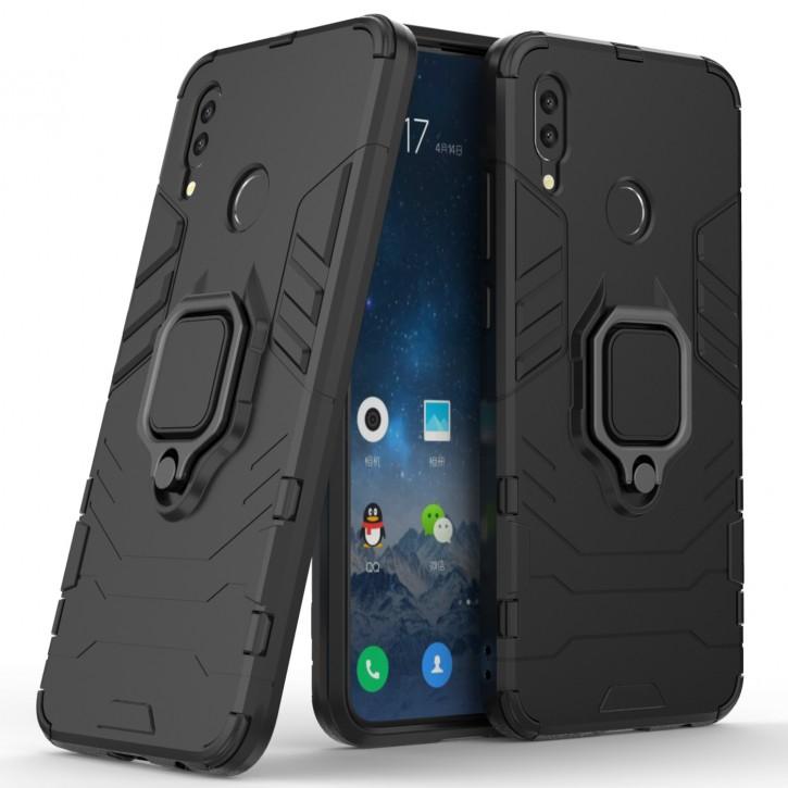 COOVY® Cover für Huawei P smart (Model 2019) Bumper Case, Plastik + TPU-Silikon, extra stark, Anti-Shock, Stand Funktion + Magnethalter kompatibel |
