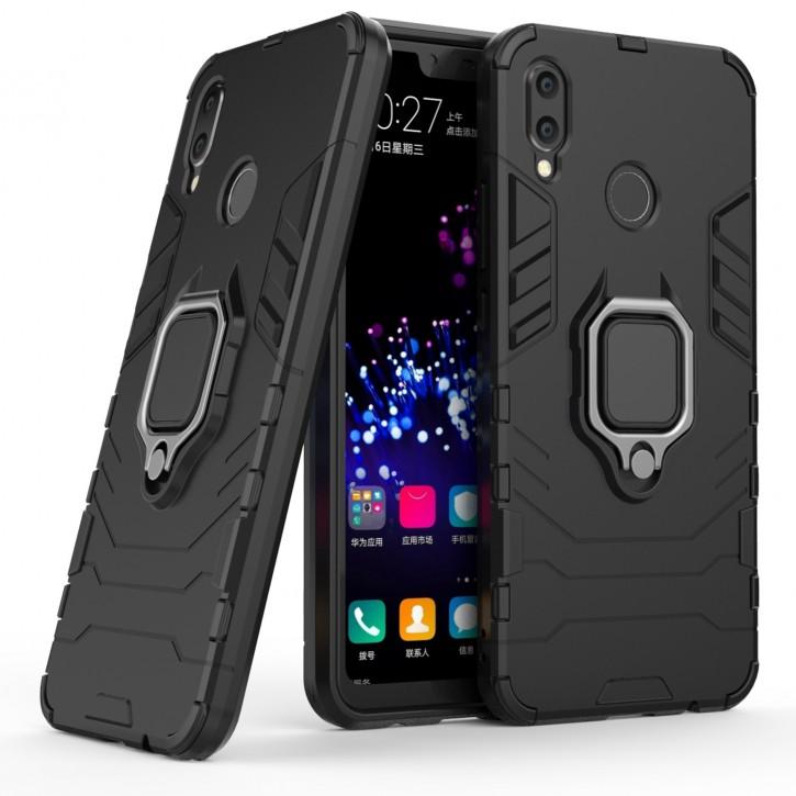 COOVY® Cover für Huawei P Smart + Plus / nova 3i Bumper Case, Plastik + TPU-Silikon, extra stark, Anti-Shock, Stand Funktion + Magnethalter kompatibel  