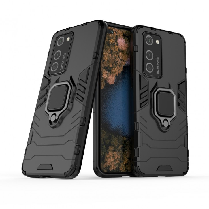 COOVY® Cover für Huawei P40 Pro Bumper Case, Plastik + TPU-Silikon, extra stark, Anti-Shock, Stand Funktion + Magnethalter kompatibel  