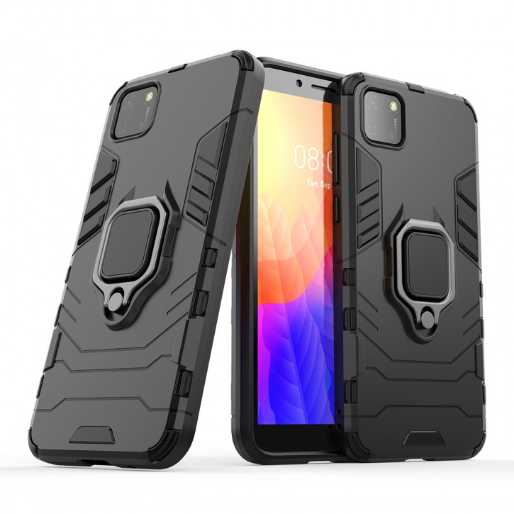 COOVY® Cover für Huawei Y5p / Honor 9S Bumper Case, Plastik + TPU-Silikon, extra stark, Anti-Shock, Stand Funktion + Magnethalter kompatibel  