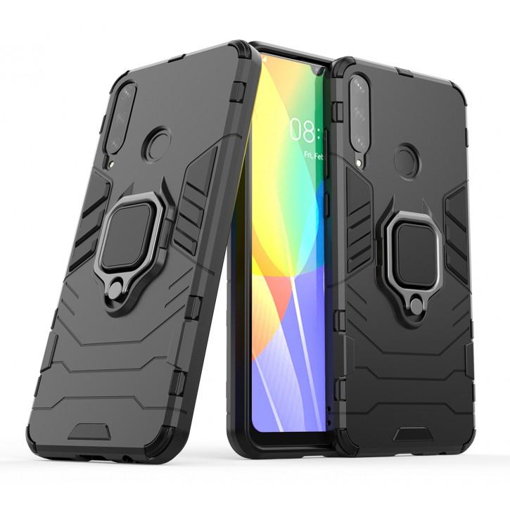 COOVY® Cover für Huawei Y6p Bumper Case, Plastik + TPU-Silikon, extra stark, Anti-Shock, Stand Funktion + Magnethalter kompatibel |