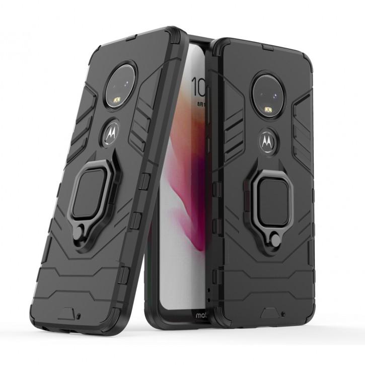 COOVY® Cover für Motorola Moto G7 /G7 Plus Bumper Case, Plastik + TPU-Silikon, extra stark, Anti-Shock, Stand Funktion + Magnethalter kompatibel |